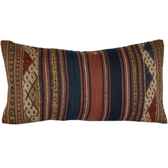 Coussin  Kilim Antiques Rectangulaire Rayures Multicolores